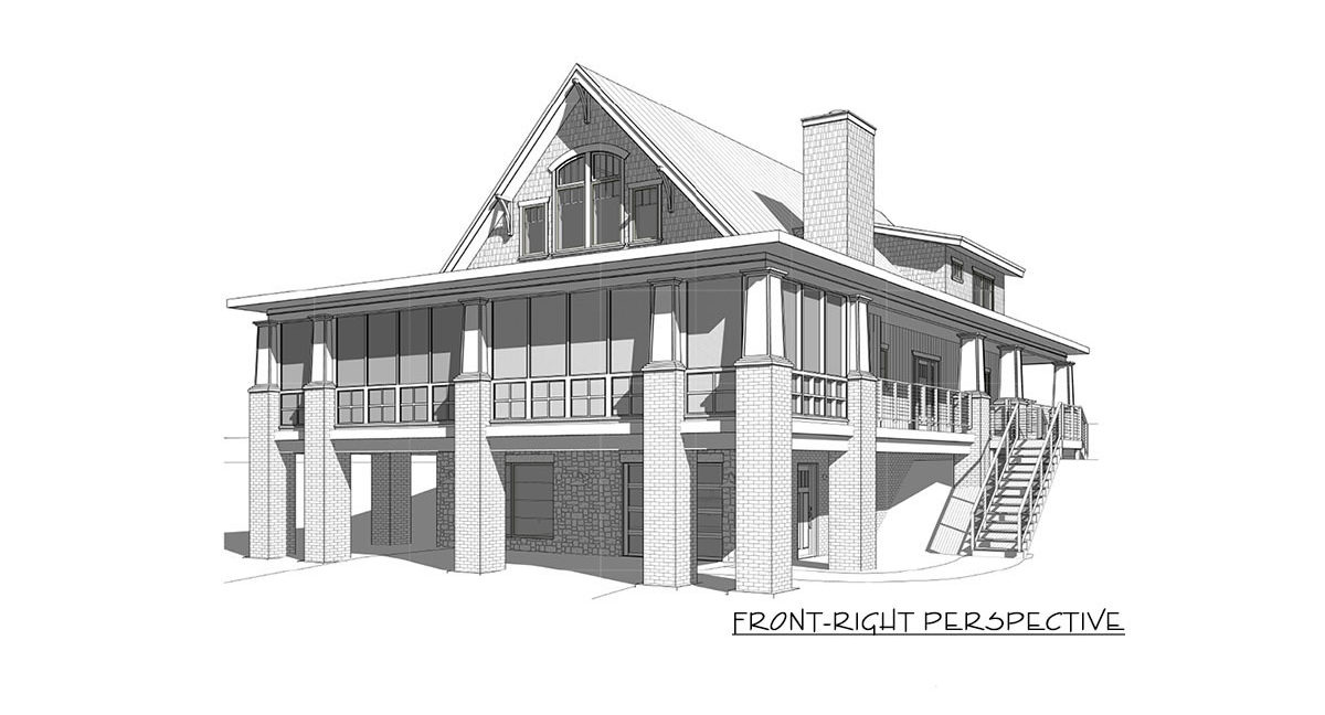 Front-right perspective sketch of the two-story 4-bedroom craftsman style exclusive vacation home.
