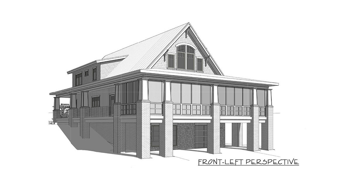 Front-left perspective sketch of the two-story 4-bedroom craftsman style exclusive vacation home.
