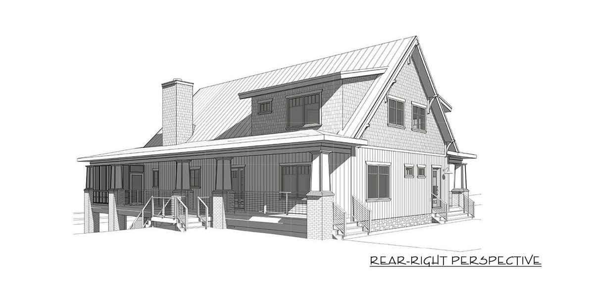 Rear-right perspective sketch of the two-story 4-bedroom craftsman style exclusive vacation home.