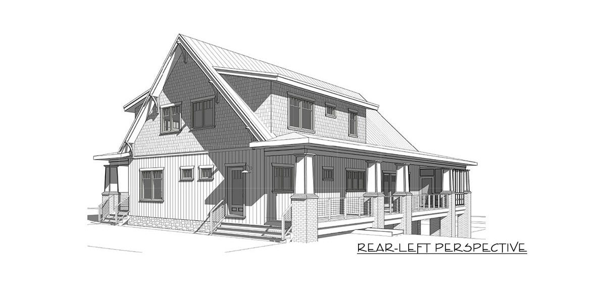 Rear-left perspective sketch of the two-story 4-bedroom craftsman style exclusive vacation home.