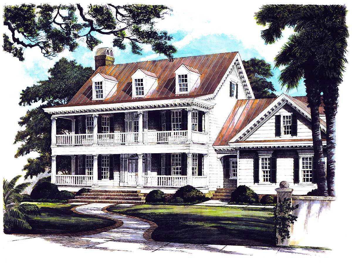 Front perspective sketch of the two-story 4-bedroom Southern Belle home.