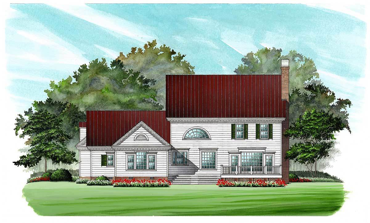 Rear perspective sketch of the two-story 4-bedroom Southern Belle home.