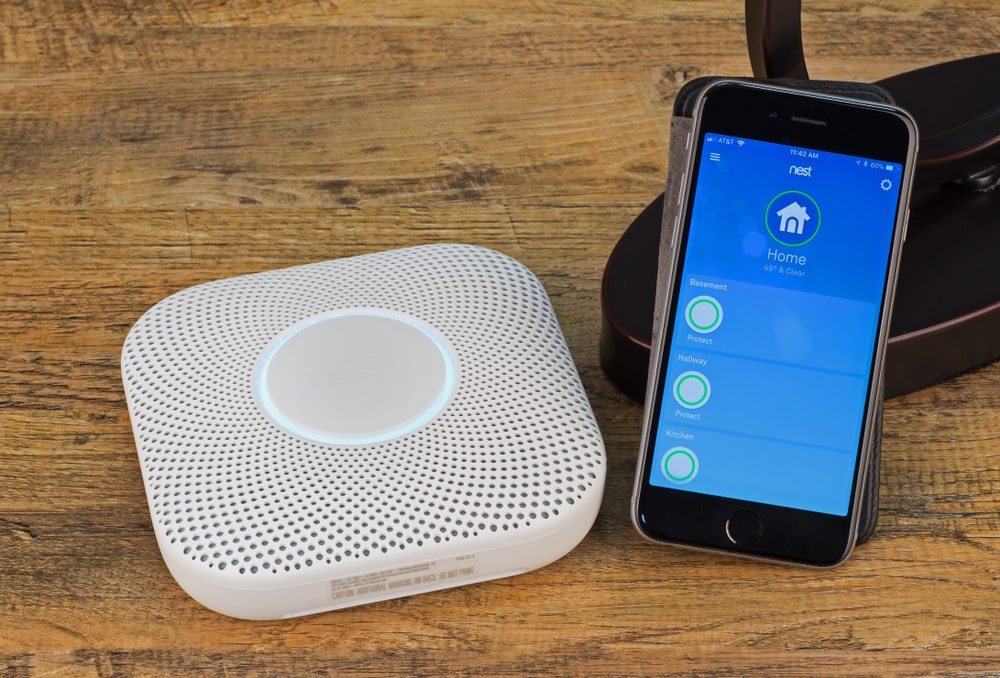 A close look at a Smart Smoke and Carbon Monoxide Detector that can be controlled with smart phone.
