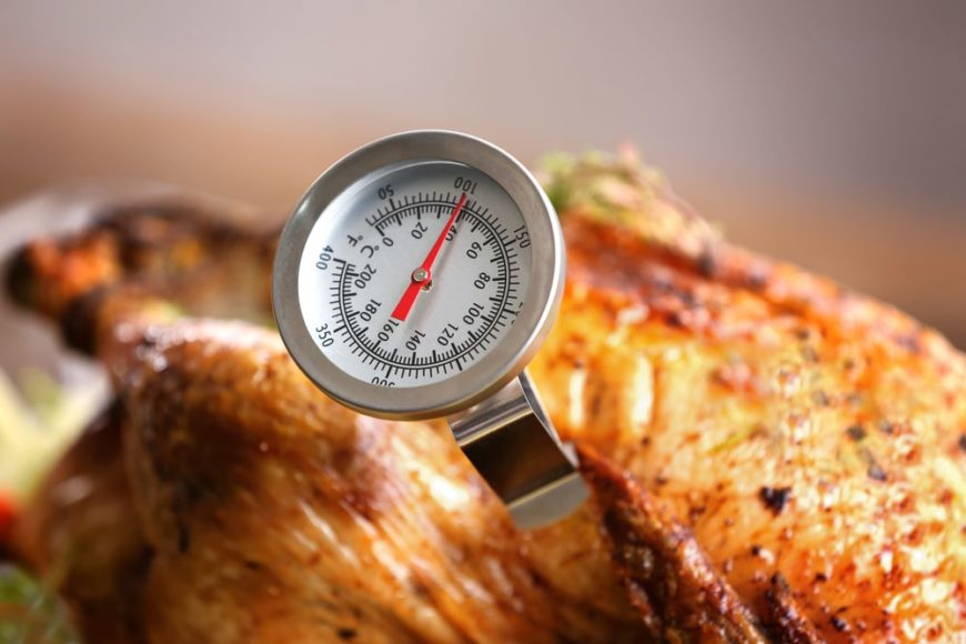 A freshly-cooked turkey with a food thermometer.