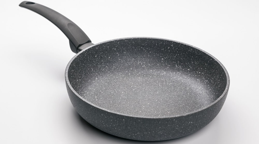 A stoneware frying pan in a gray tone.