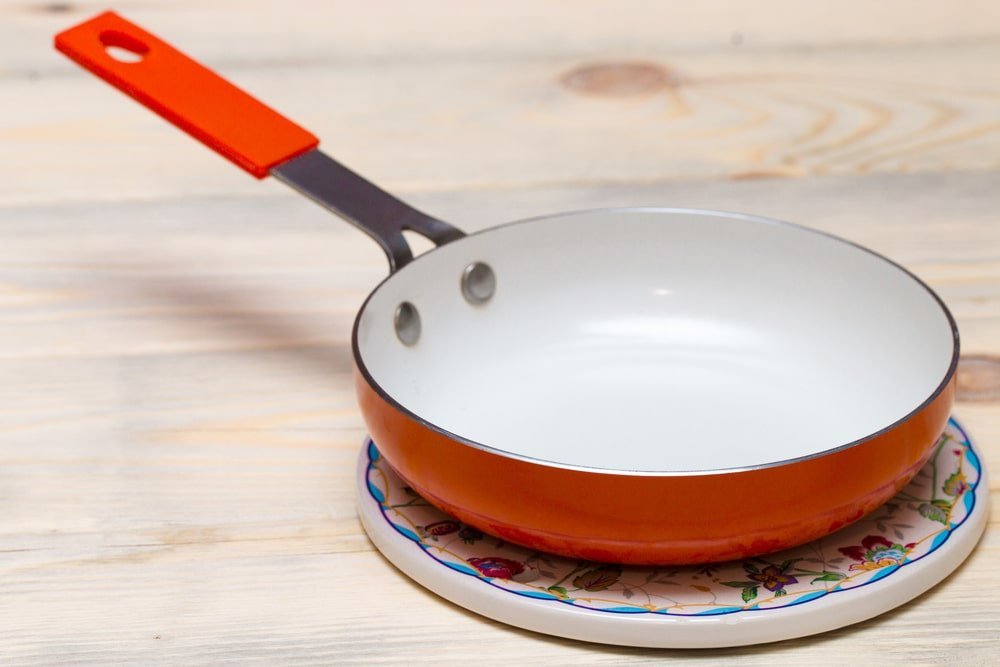 A close look at a ceramic frying pan.