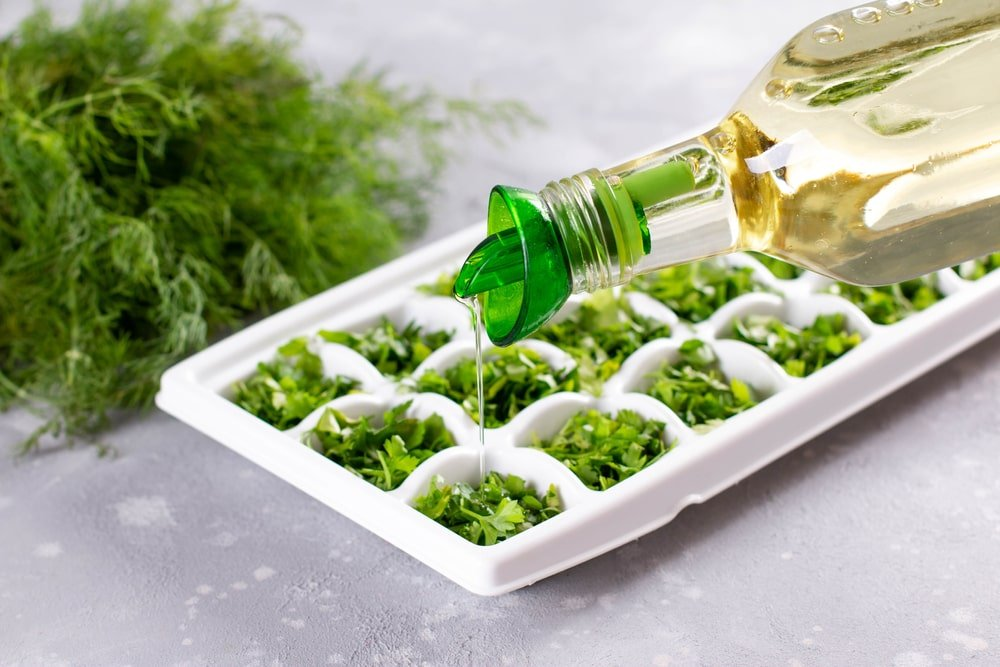 A bunch of herbs in an ice tray about to be frozen with olive oil.