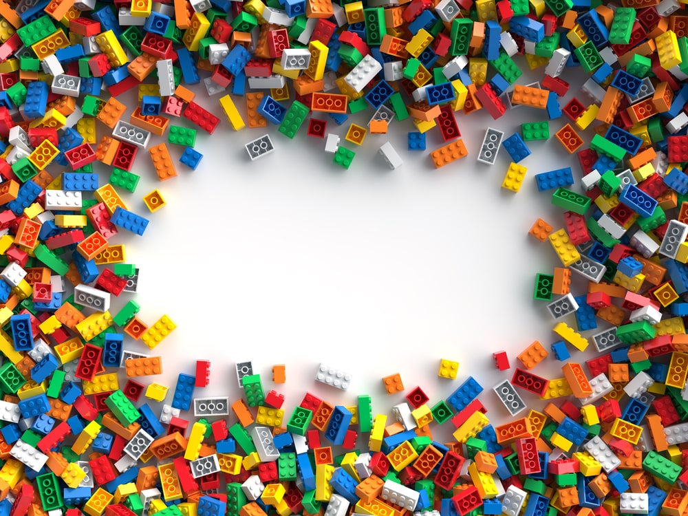 A bunch of colorful toy bricks for children.
