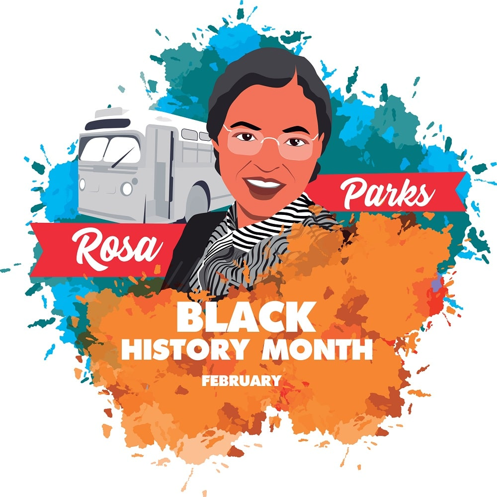 A colorful illustration of Rosa Parks featured in a Black History Month Poster.