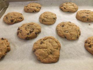 A batch of freshly-baked vegan chocolate chip tahini cookies.