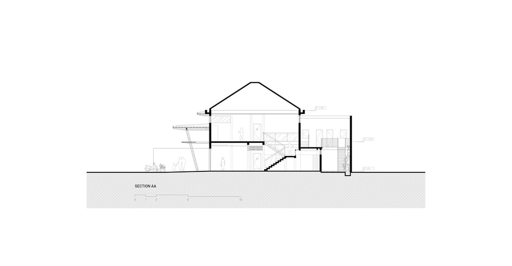 This is an illustration of the house's section elevation showcasing the sections of the house.