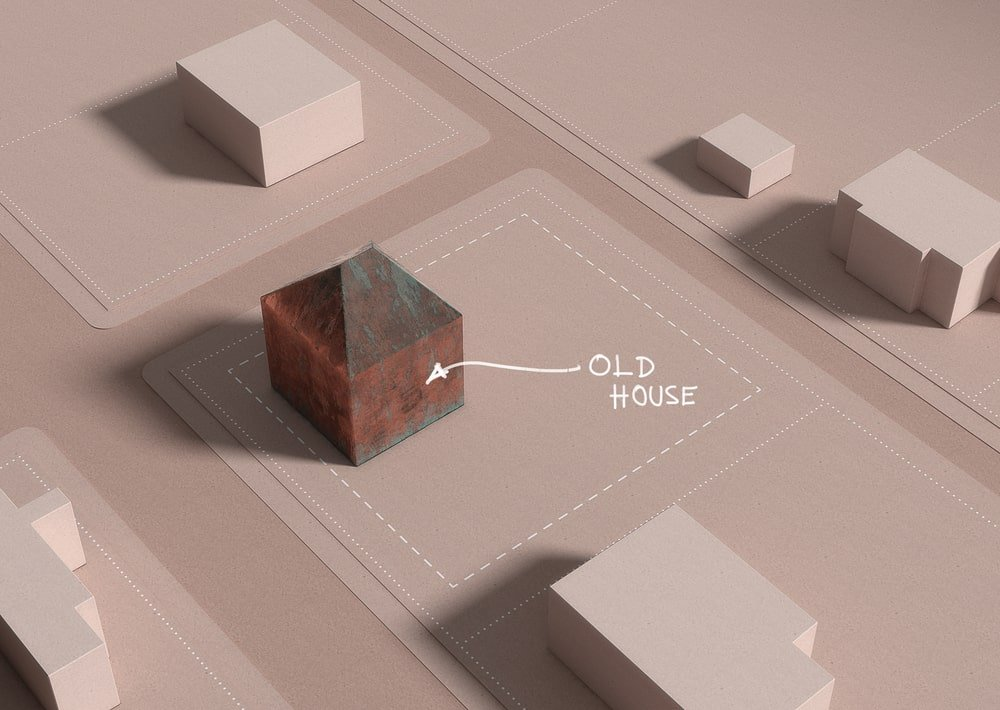 This is a 3D diagram depicting the old house of the property.