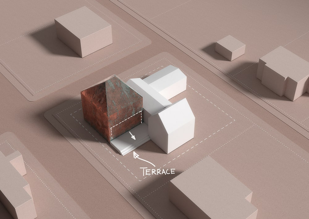 This is a 3D diagram depicting the terrace area of the property.