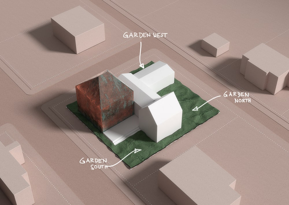 This is a 3D diagram depicting the three gardens of the property.
