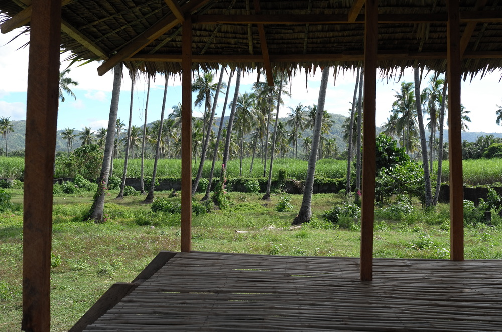 This view of the hut showcases the exposed beams of the ceiling and roof made of dried leaves.