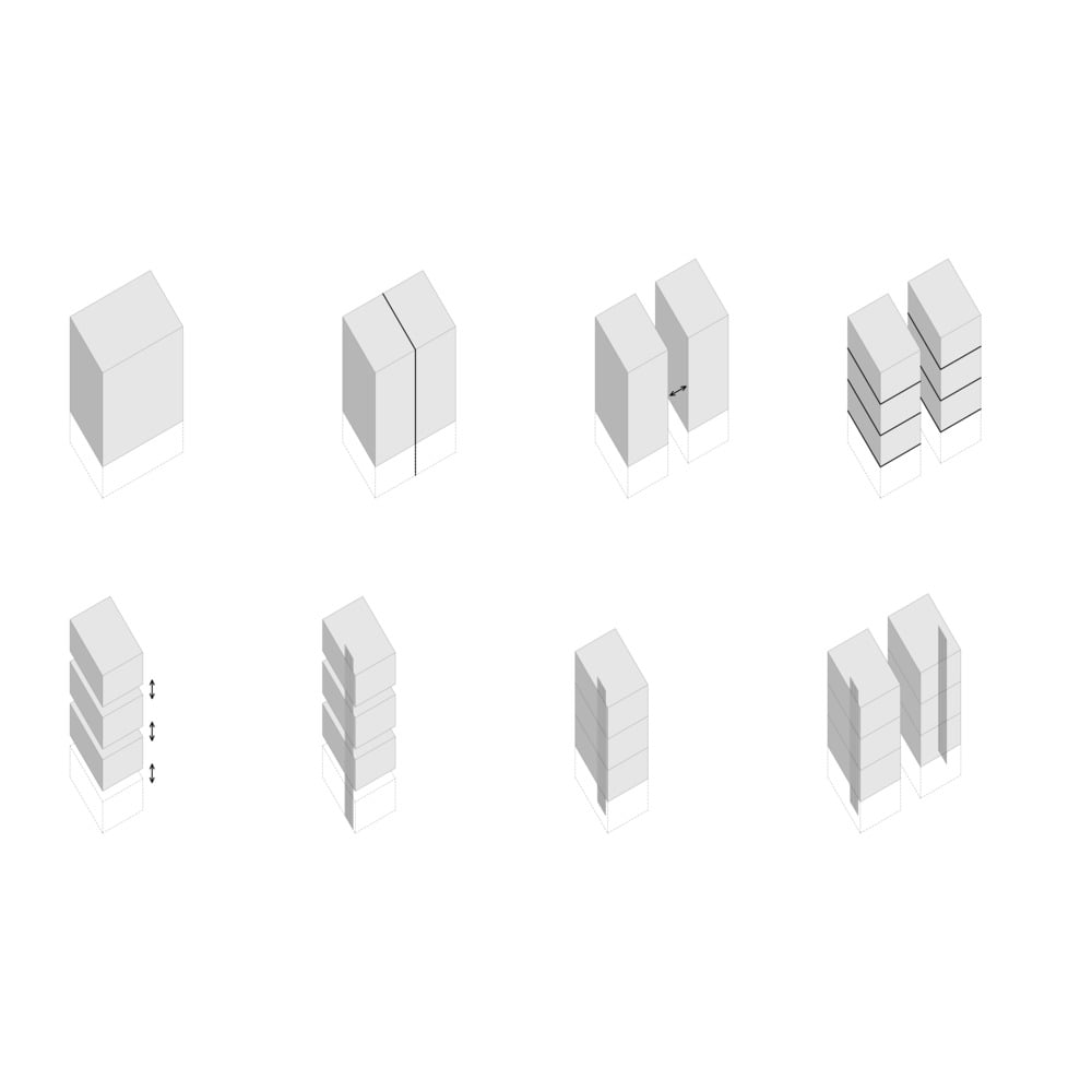 This is an illustration of the house's blocks and sections that add up to the structure.