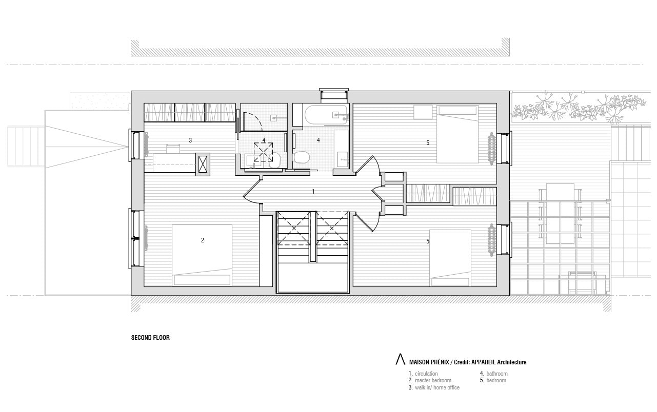 This is the illustration of the house's second level floor plan.