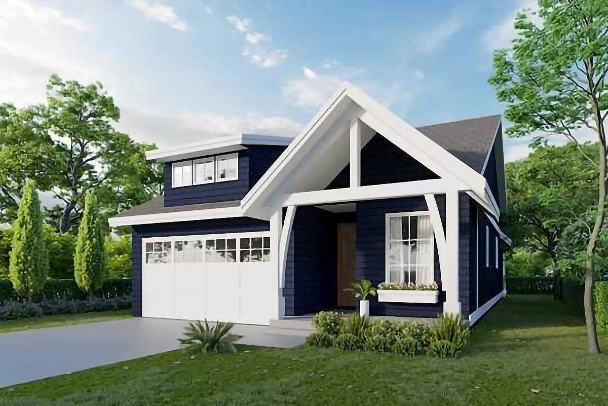 Front rendering of the 3-bedroom single-story cottage home.