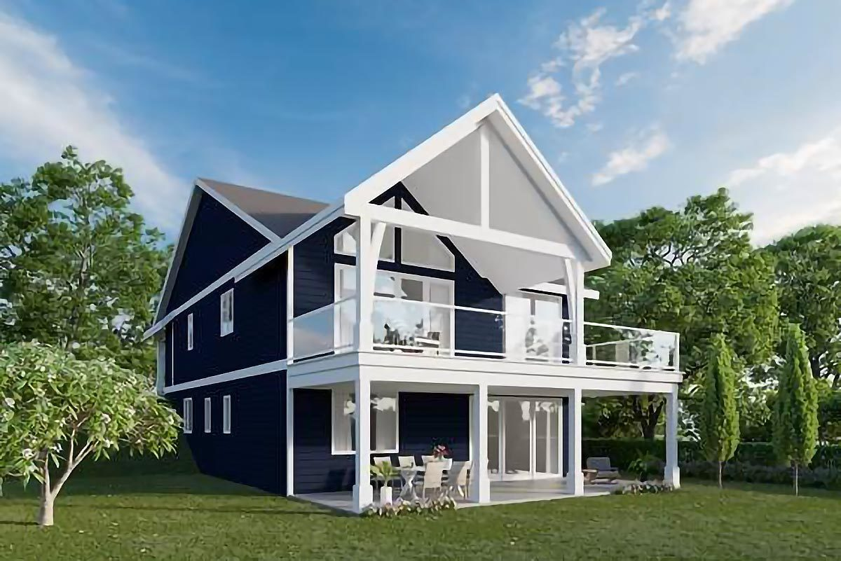 Rear rendering of the 3-bedroom single-story cottage home.