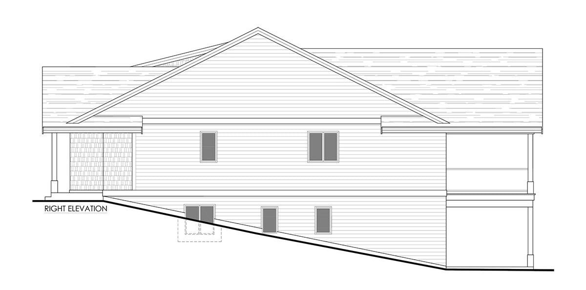 Right elevation sketch of the 3-bedroom single-story cottage home.