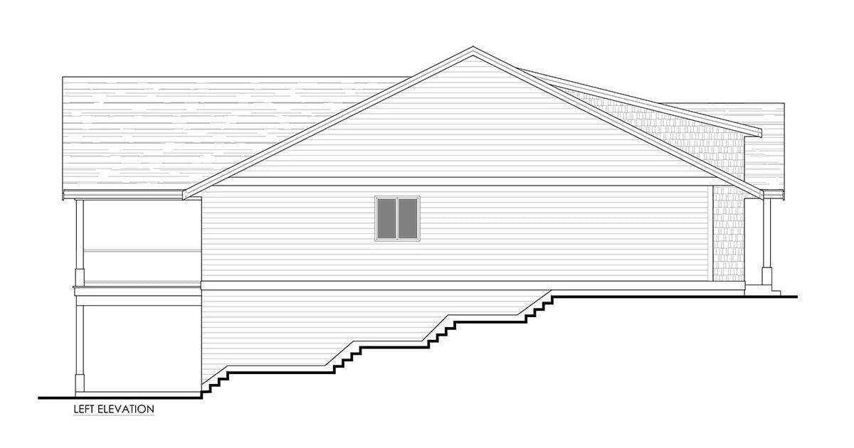 Left elevation sketch of the 3-bedroom single-story cottage home.