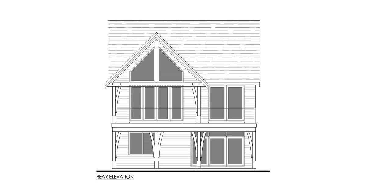 Rear elevation sketch of the 3-bedroom single-story cottage home.