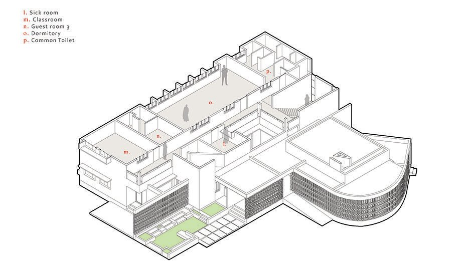 This is a 3D illustration of the second level floor plan.