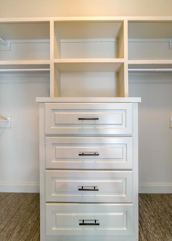 Walk-in closet with white built-ins and drawers over carpet flooring.