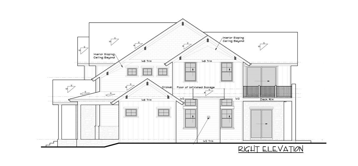 Right elevation sketch of the 4-bedroom two-story mountain craftsman home.