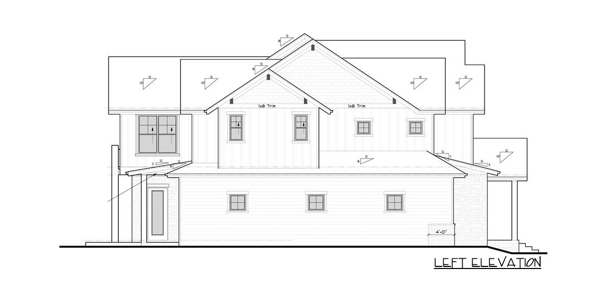 Left elevation sketch of the 4-bedroom two-story mountain craftsman home.