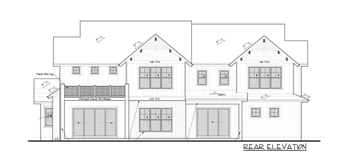 Rear elevation sketch of the 4-bedroom two-story mountain craftsman home.