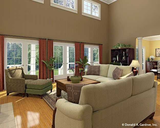 French doors and clerestory windows bring in an abundant amount of natural light.