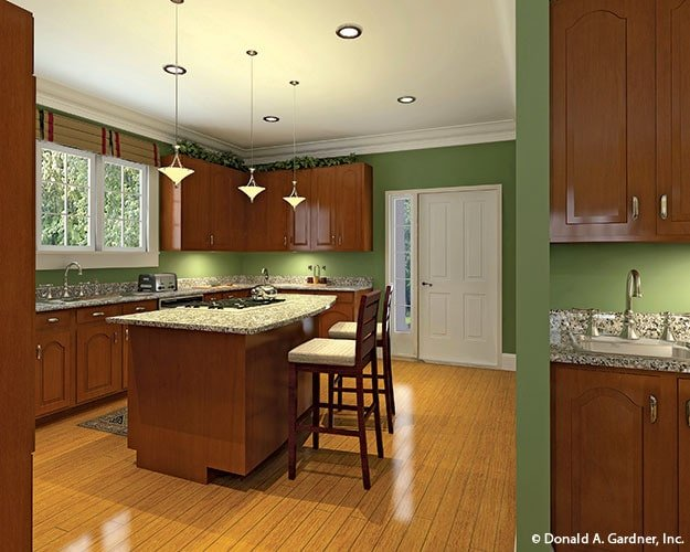 The kitchen includes outdoor access via a white door.
