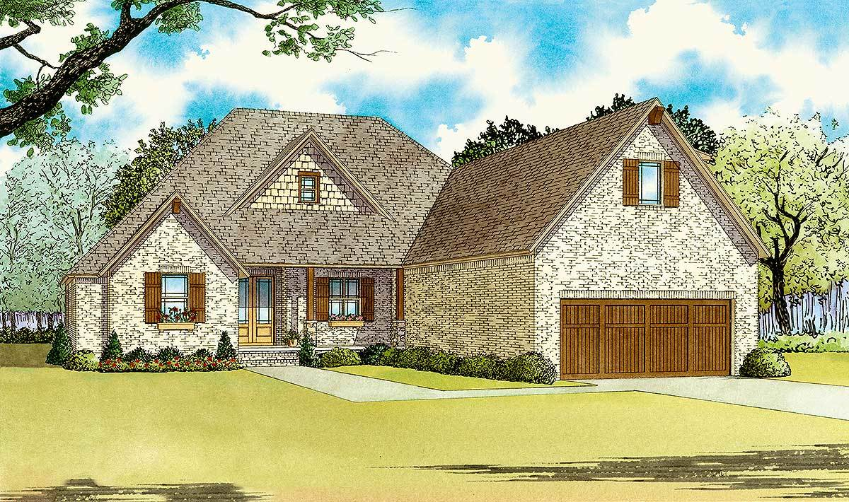 Front perspective sketch of the 4-bedroom two-story traditional brick home.