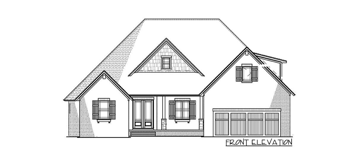 Front elevation sketch of the 4-bedroom two-story traditional brick home.