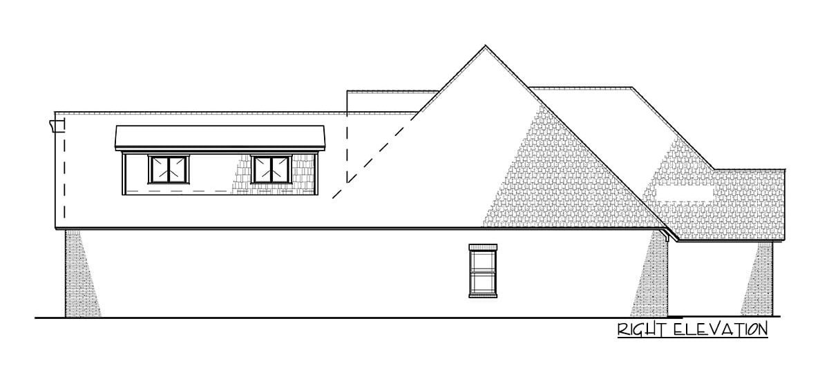 Right elevation sketch of the 4-bedroom two-story traditional brick home.