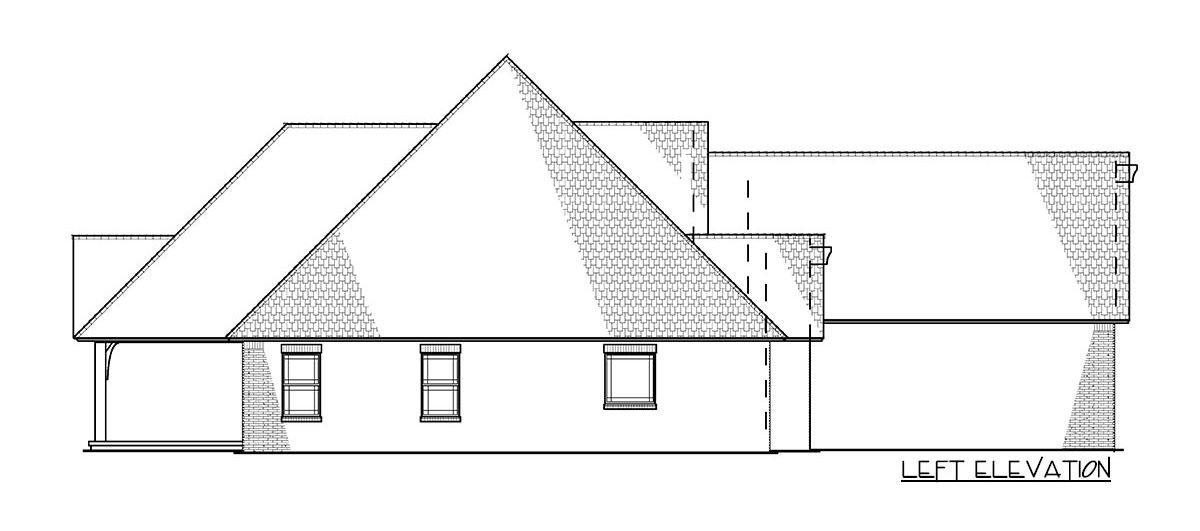 Left elevation sketch of the 4-bedroom two-story traditional brick home.