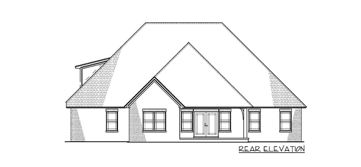 Rear elevation sketch of the 4-bedroom two-story traditional brick home.