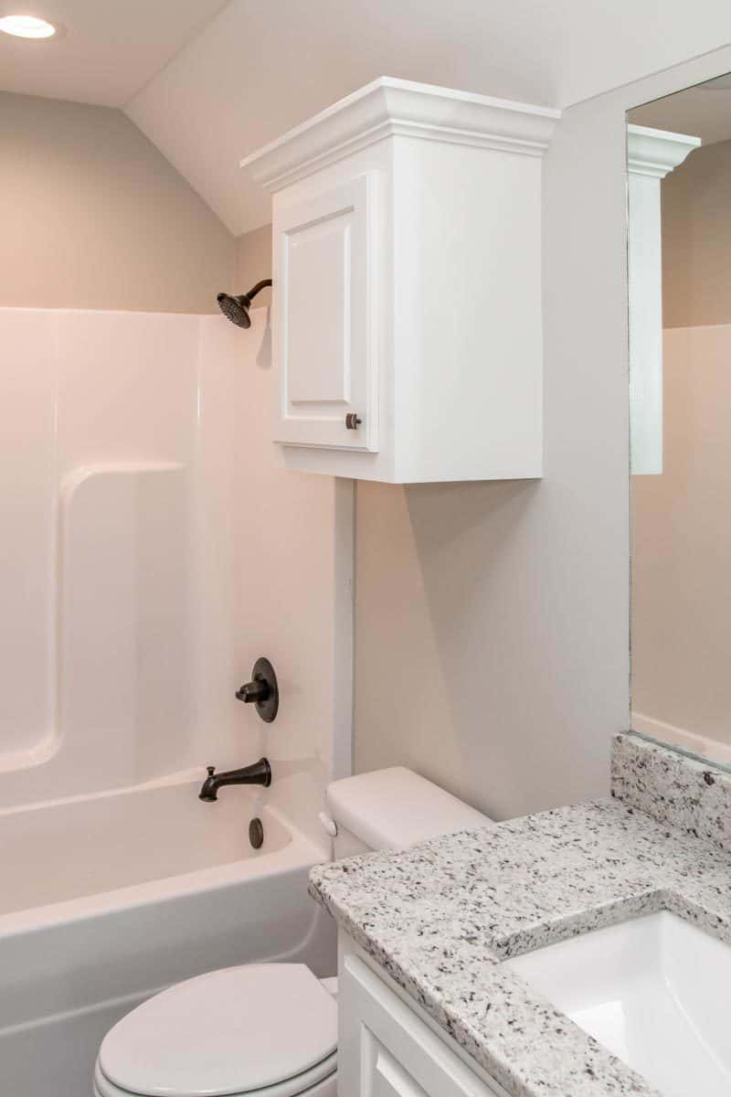 Bonus bath with a sink vanity, a toilet, and a tub and shower combo.