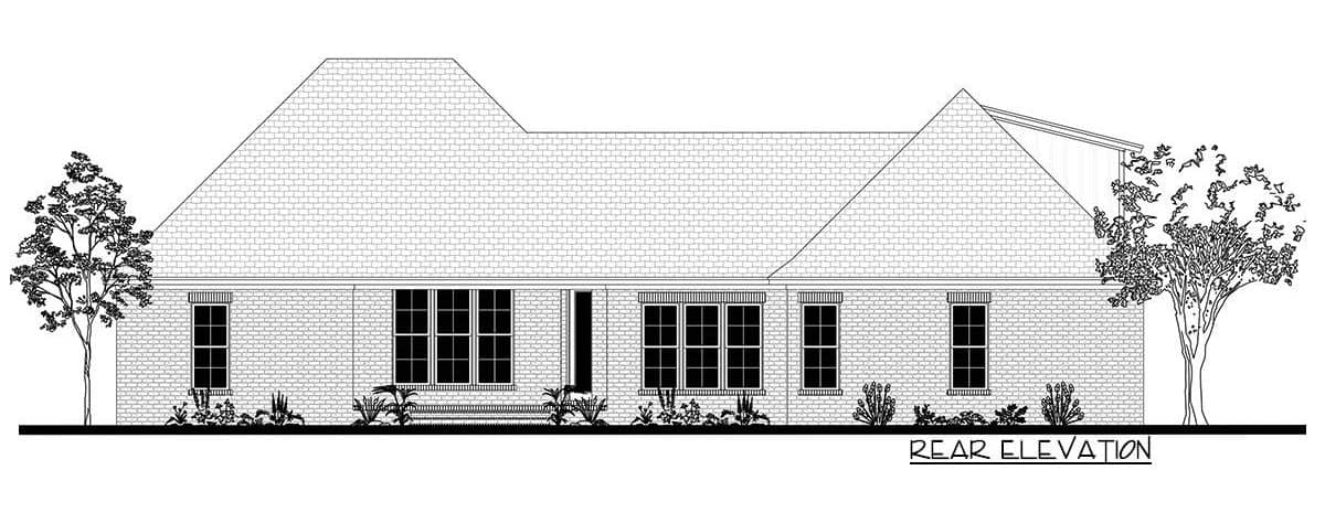 Rear elevation sketch of the 5-bedroom two-story country farmhouse.