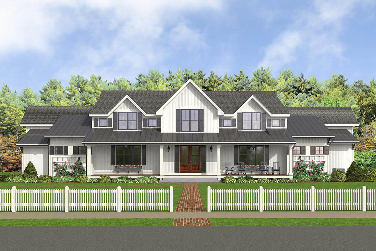 5-Bedroom Two-Story Modern Country Farmhouse for a Wide Lot with Wet Bar and In-Law Suite