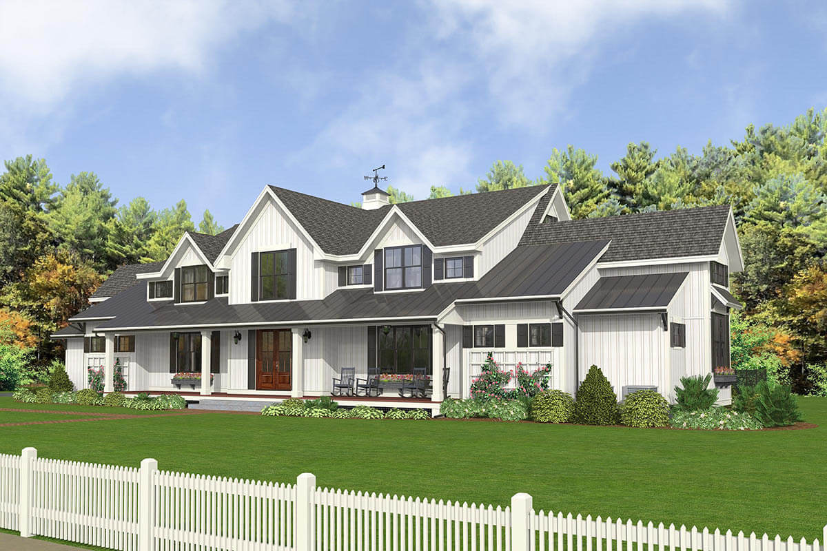 Front rendering of the 5-bedroom two-story modern country farmhouse.