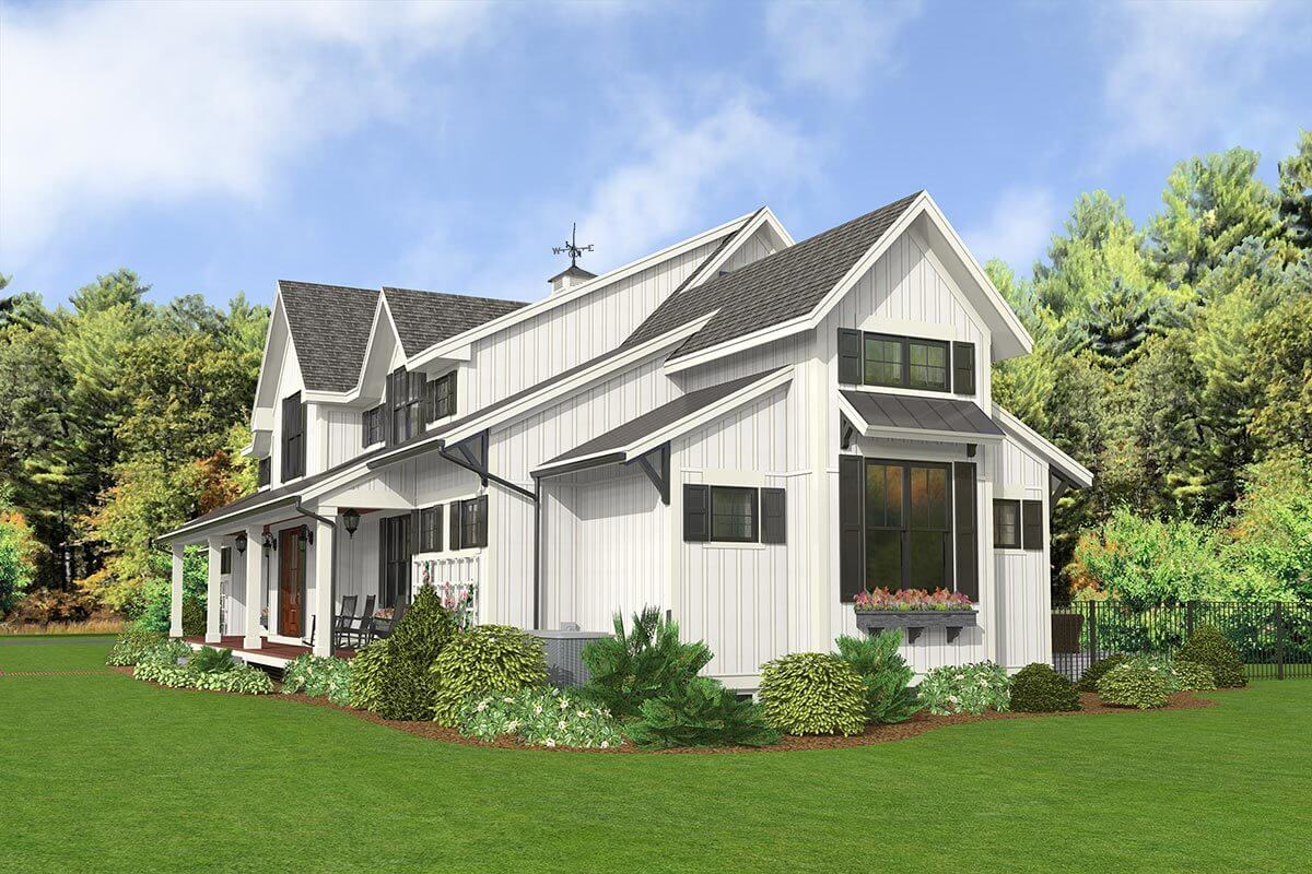 Front-right rendering of the 5-bedroom two-story modern country farmhouse.