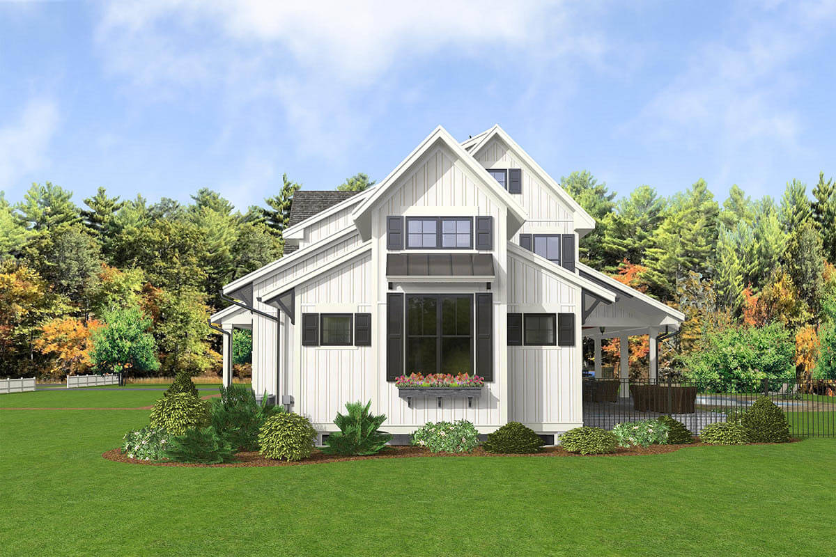 Right rendering of the 5-bedroom two-story modern country farmhouse.