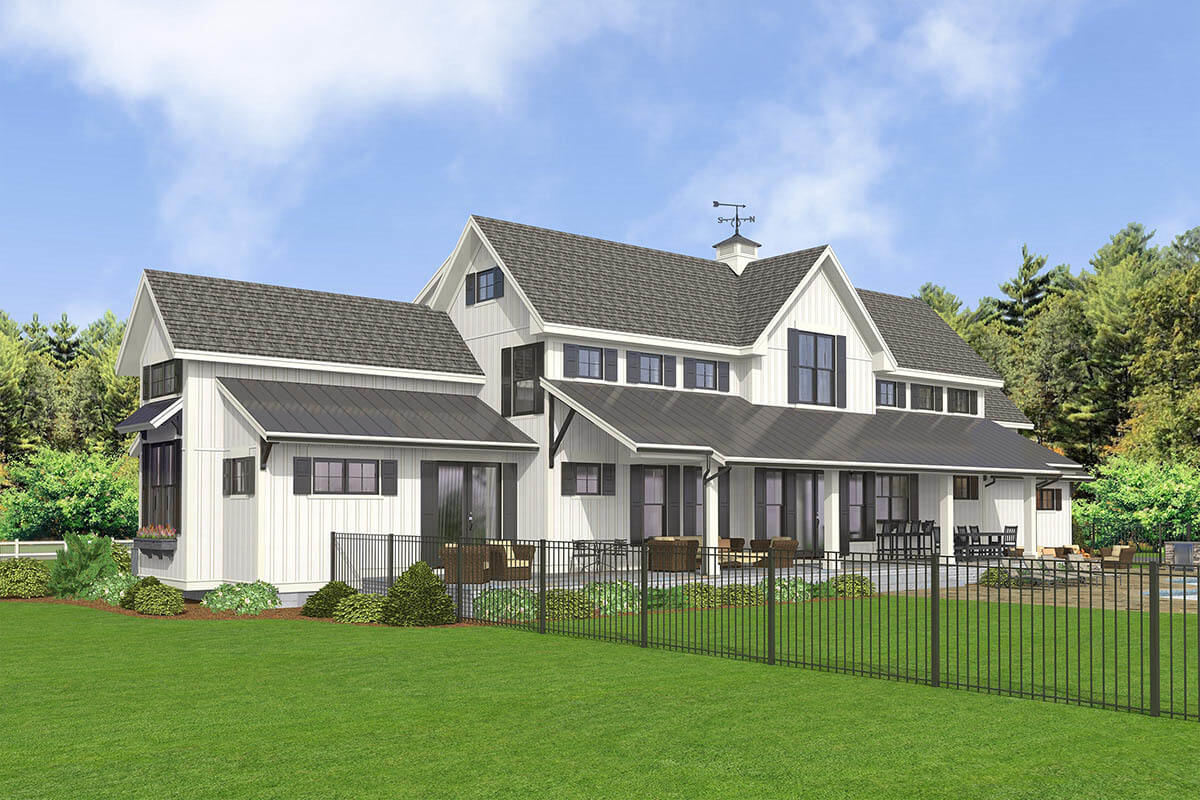 Right-rear rendering of the 5-bedroom two-story modern country farmhouse.