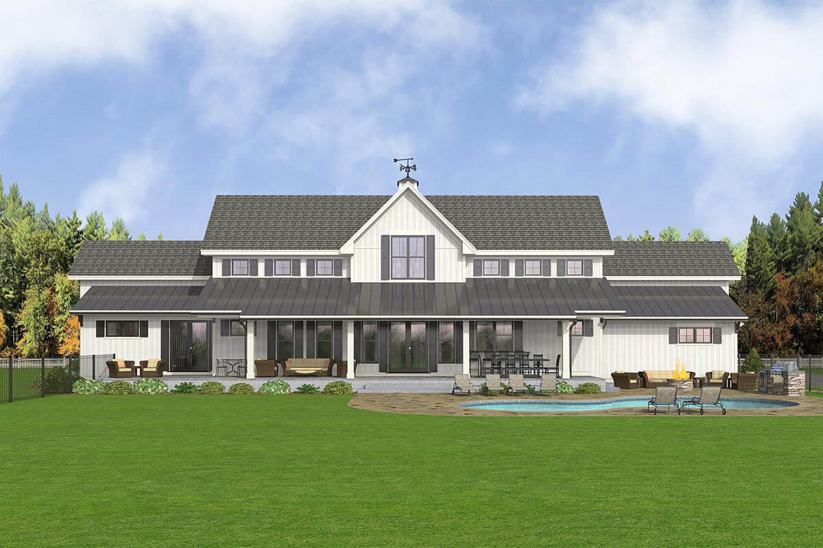 Rear rendering of the 5-bedroom two-story modern country farmhouse.