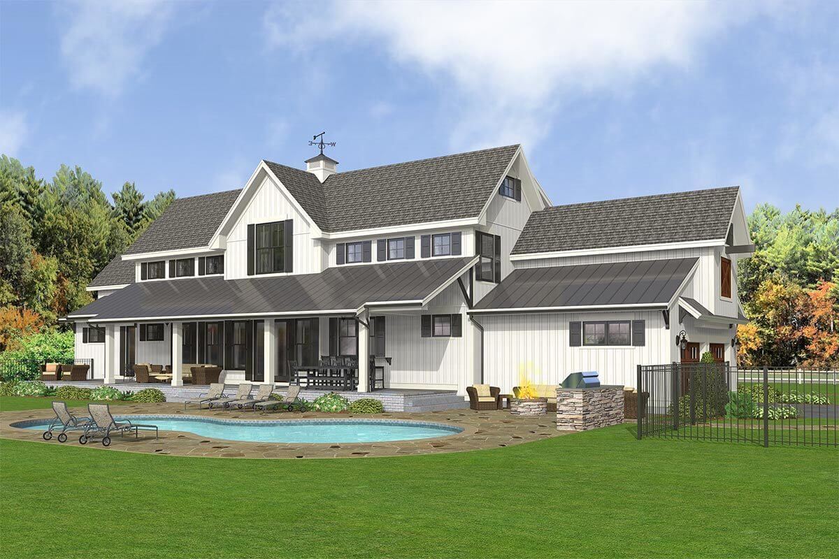 Rear-left rendering of the 5-bedroom two-story modern country farmhouse.