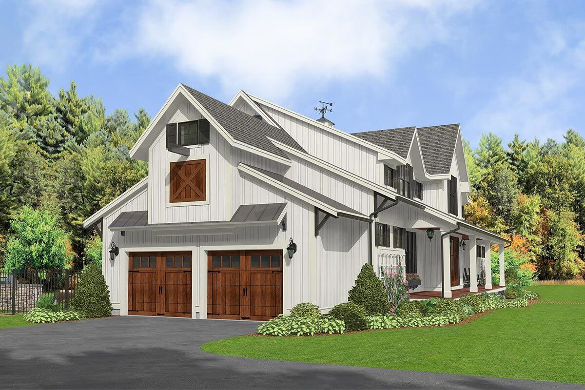Left rendering of the 5-bedroom two-story modern country farmhouse.