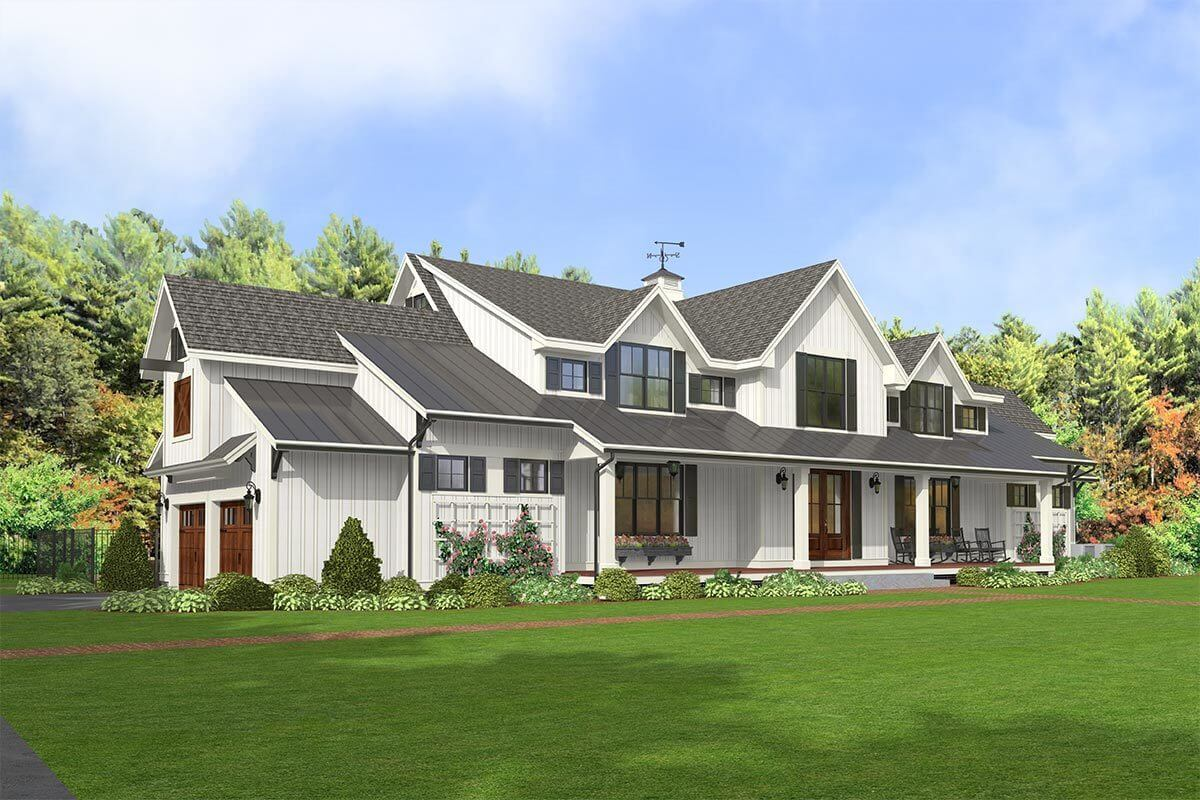 Front-left rendering of the 5-bedroom two-story modern country farmhouse.