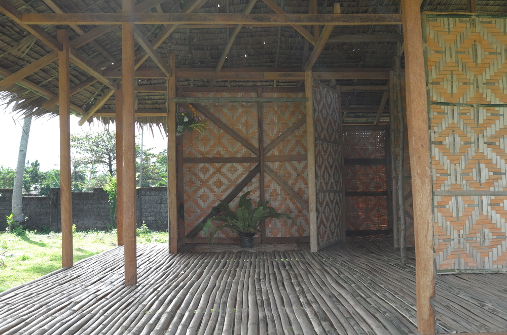 This is a closer look at the raised wooden platform flooring made of bamboo.